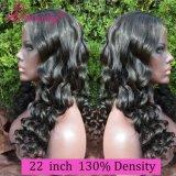 100% onda floja peluca llena del cordón del pelo virginal indio con rayita natural