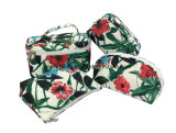 De bloem drukt de Zak van de Make-up van de Dames van de Schoonheid van de Manier van de Polyester, Kosmetische Zakken af