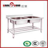 Manufacturer Stainless Steel sink with Undershelf and 2 Bowl