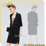 Черноты хлопка высокого качества платье рубашки Streaight холодной вскользь