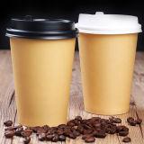 Подгонянные бумажные стаканчики кофеего Kraft с пластичной крышкой