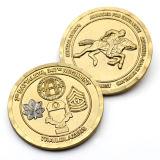 Aleación de zinc metal chapado en oro Monedas de recuerdo de deportes de softbol de esmalte