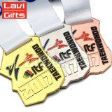 Comercio al por mayor de metal personalizados baratos Deporte Premio medallas de Taekwondo con cinta