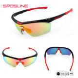 UV400セリウムのスポーツのサングラスの実行のための黒いスポーツガラスを反スクラッチしなさい