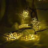 5m 20LED 금속 별 끈 빛 태양 강화된 요전같은 빛 크리스마스 결혼식 홈 훈장 램프 백색, 온난한 백색