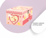 오프셋 꽃 무늬는 2개의 서랍 미러 보석 음악 저장 상자를 감쌌다