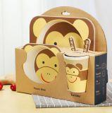 Dos utensílios de mesa amigáveis da melamina de Eco jogo de bambu da louça dos miúdos da fibra