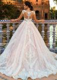 O tampão nupcial dos vestidos do laço Sleeves o vestido de esfera formal Appliqued Bz107 do casamento do forro cor-de-rosa nu