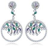 女性のHightの品質の真鍮ロジウムによってめっきされるイヤリングのための方法宝石類