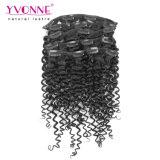 Clip umana brasiliana riccia malese dei capelli del Virgin dell'essere umano di Yvonne 100% nelle estensioni 7PCS/Set dei capelli