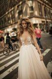 Sexy Applique валика клея на линии вечер устраивающих Бич свадебные платья