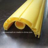 Formato semicircular Perfil de extrusão de plástico amarelo com o furo