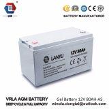 Bateria acidificada ao chumbo solar do AGM 12V 80ah da central eléctrica