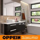 Module italien de miroir de salle de bains de mémoire de laque de noir de modèle moderne avec le bassin