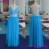 Échantillon réel en mousseline robe demoiselle d'honneur bleu long personnalisé