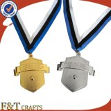 Medaglia su ordinazione del nastro dell'oro del metallo del commercio all'ingrosso della medaglia di sport di alta qualità