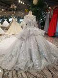 Vestido de casamento longo cinzento dos grânulos de vidro da luva do vestido de esfera