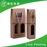 Rectángulo de regalo del vino de la botella del papel acanalado 2 de la alta calidad