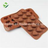 Прессформа 100% шоколада силикона 15-Cavity качества еды Heart-Shaped