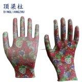 Gants de nitriles colorés par nylon de la fleur des femmes pour le jardin