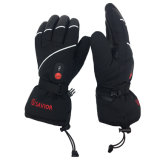 СПАСИТЕЛЬ SHGS15B делает жару водостотьким перстов перчаток напольного спорта перчаток перчаток неподдельной кожи перезаряжаемые нагретую батареей катаясь на лыжах реальную (Unisex, чернота полной величины)