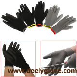 gants fonctionnants de paume d'unité centrale de noir de doublure de polyester de 13G Balck