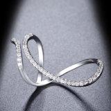 Anel de prata aberto de medida ajustável da cor com a CZ para mulheres