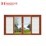 Puerta deslizante de cristal del grano de madera del diseño moderno