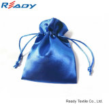 Hot Sale Blue Both-Side Satin Drawstring Bag para Jóias Gift