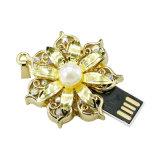 A memória de cristal da colar da flor do metal encerra o USB