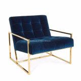 現代的な電流を通されたステンレス鋼のフレームによって装飾されるビロードの肘掛け椅子