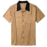 Camisa de algodão curta da luva de Brown dos homens com alta qualidade