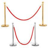 Heißer Verkaufs-Messing überzogene Warteschlange-Pfosten mit rotem Samt-Seil