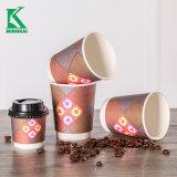 ふたが付いている波形の二重壁のエスプレッソの熱いコーヒー紙コップ