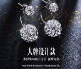 Серьги способа Diamante корейских сторон двойника стержня уха кольца уха типа глянцеватых серебряные
