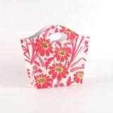 Bolsas de papel revestidas del regalo de la flor del arte rosado de la manera