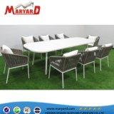 Патио столовая мебель веревки стул и алюминиевая рама таблица установки