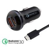 QC3.0 Quick double chargeur de voiture USB avec câble de type C