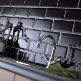 """4""""x12""""/10x30cm brillante negro mosaico Metro cónico para baño y cocina Decoración"""