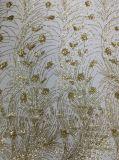Dama de la moda parte de tul bordado de lentejuelas lentejuelas tejido francés encaje bordado