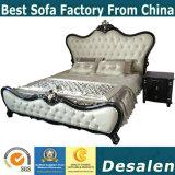 Королевский стиль спальня мебель деревянная резная кровать из натуральной кожи (992)