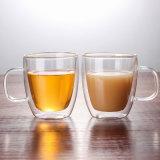 12oz/350ml/450ml/16oz二重壁のガラスコーヒー・マグはハンドルが付いているコップをびん詰めにする