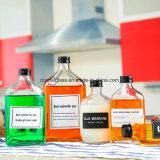 Flaches Glas-Wein-Flasche für Wodka-Spiritus-Alkohol mit Überwurfmuttern
