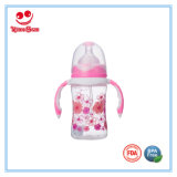Double Colors Wide Neck Plastic Baby Feeding Bottle with Straw