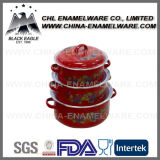 China Supplier 5PCS Customized Logo Enamel Casserole com tampa de vidro