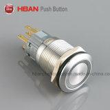 RoHS Hban Ce (19мм) Плоский круглый значок питания промышленного с самовозвратом переключатели с подсветкой