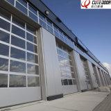 Porta exterior da garagem da segurança de alumínio industrial do vidro geado do frame