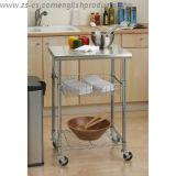 Carrinho de cozinha de aço inoxidável DIY 3 Tiers com uma cesta