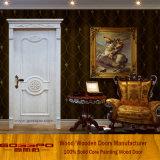 Frente blanco Talla de lujo de teca maciza puerta de madera (GSP2-080)