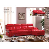 Reclinação do canto sofá de couro vermelho 6041lm